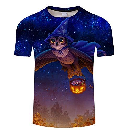 DHAJIFL Neueste Halloween Männer T-Shirt 3D Kurzarm T-Stücke Druck Eule Kürbis Neuheit T-Shirt Fashion Lustige T-Shirt Sommer Top Große Größe