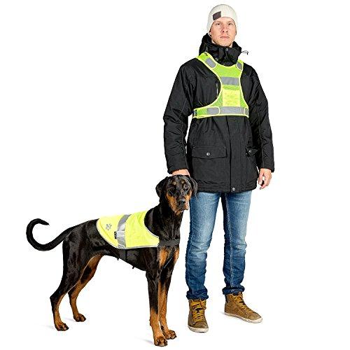 The Friendly Swede - 3M Hunde-Reflektorweste + Sicherheitsweste für Herrchen + reflektierender Elch-Anhänger (groß)