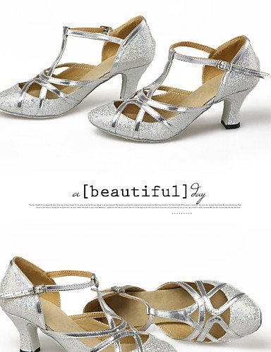 ShangYi Non Customizable Women's Dance Shoes Latin/Modern Leatherette/Paillette Cuban Heel Silver/Gold Gold