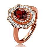 Uloveido Anillo de flor de piedra granate rojo redimensionable...