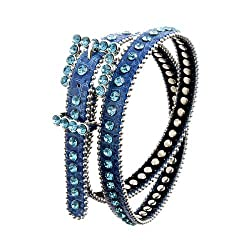 Sleek Turquoise Single Row Rhinestone belt with Turquoise Rhinestone Buckle, S/M