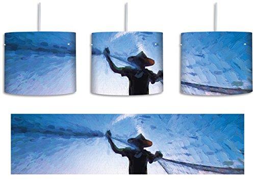 Fischer wirft sein Netz bei Sonnenuntergang aus Kunst Pinsel Effekt inkl. Lampenfassung E27, Lampe mit Motivdruck, tolle Deckenlampe, Hängelampe, Pendelleuchte - Durchmesser 30cm - Dekoration mit Licht ideal für Wohnzimmer, Kinderzimmer, Schlafzimmer (Silhouette Fischer)