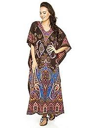 Robe tunique cafetan maxi kimono pour femme, taille universelle -  Marron - Taille unique