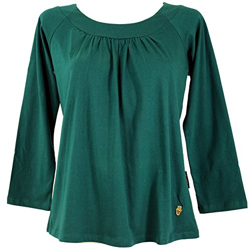 GURU-SHOP, Camiseta Boho con la Mano de Fátima, Esmeralda, Algodón,