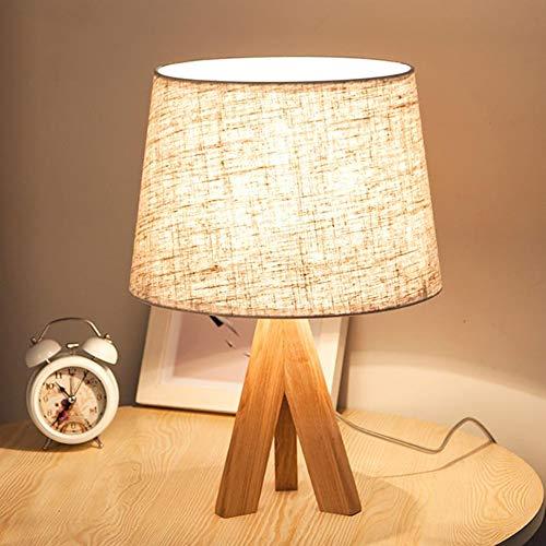 Waiwei Tischleuchte mit Holzfuß Schirm weiß Lampe mit Holz Stativ Leuchte Trend Kreative einfache Tischlampe {Energieeffizienzklasse A +} (Trompete)