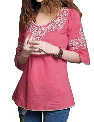 Triumphin Pink Women Short Top Kurti For Jeans Embroidered Cotton Top For...