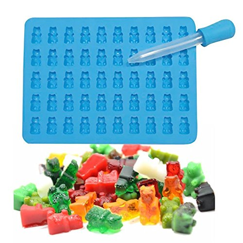 baifeng 50Hohlraum, Mini Gummibär Sweet Formen für Hard Candy Schokolade Muffin Formenbau-Silikon Seife und Ice Cube Tabletts & Jelly Formen-Sky Blau (Formenbau-silikon)