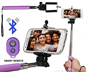 Selfie Stick Monopod With Bluetooth Remote Wireless Shutter Connectivity Compatible For ZTE ZMax Pro -Purple