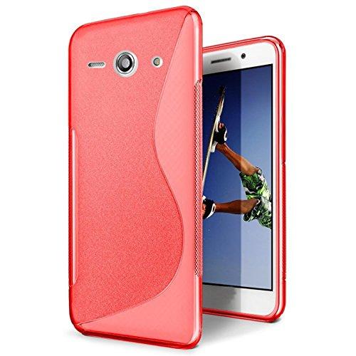 CoolGadget Huawei Ascend Y300 Hülle, Ultra Thin Tasche Cover Schlank Weich Flexibel Anti-Kratzer Schutzhülle Abdeckung Case, Silikon Cover für Ascend Y300 Rot-Case