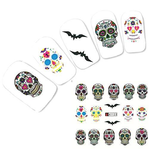 JUSTFOX - Tattoo Nail Halloween Totenköpfe Hexe Aufkleber Nagel Sticker Nägel Water Decal
