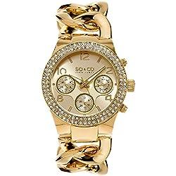 So y Co para mujer de Nueva York reloj infantil de cuarzo con diseño de rayas de dorado esfera analógica y dorado correa de acero inoxidable de 5013a, 2