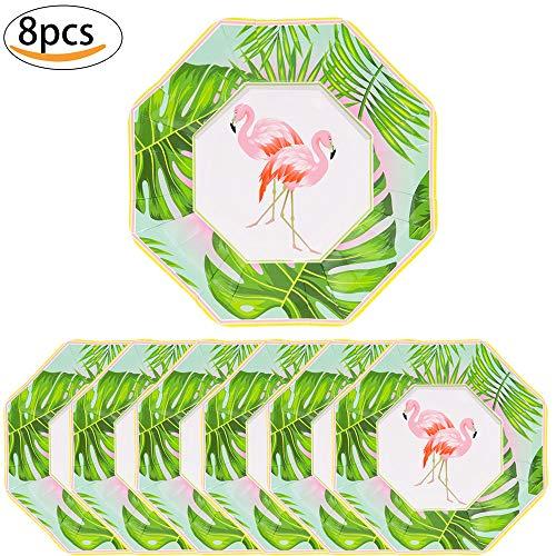 (MMTX Hawaiian Beach Party Pappteller, tropischen Sommer Luau Flamingo Einweg-Partyzubehör für Luau tropischen Tiki Beach Sommer Pool Party Hochzeit Dekoration liefert (8er Pack))
