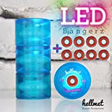 Hellmet LED Bangerz - LED Longboard Rollen - LED Longboard Wheels - NEU - Aqua Blau inkl. High Speed Kugellager