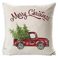 gensit Christmas Series Printed Pillowcase Soft Decoration Linen Cushion Cover Pillowcases