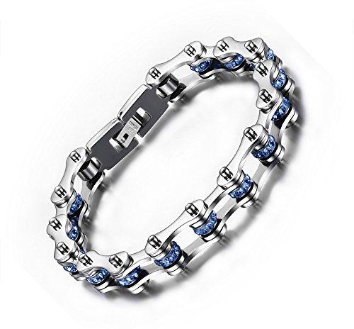 joielavie joyas pulsera para bicicleta motocicleta cadena azul para simular diamantes acero inoxidable Cool Punk Biker Link Pulsera Cadena de mano regalo para hombres
