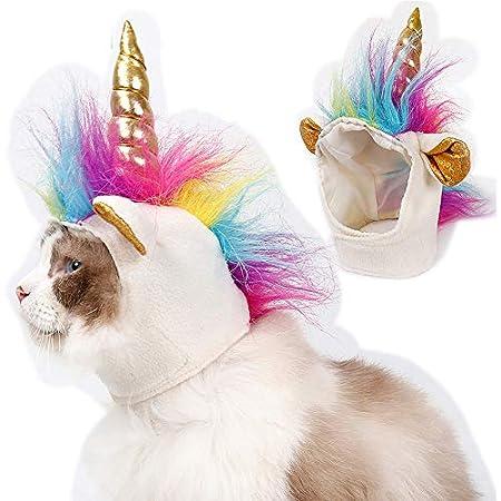 SymbolLife Einhorn Hut für Kleine Hunde Katzen Hundehut Halloween Party Kostüm-Zubehör Mähne Vestellbar