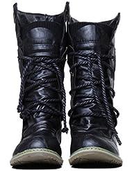 Xianshu Damen Wohnung Mittleres Kalb Schnüren Slouch Boots Anziehen Lässige Stiefel (Schwarz-38 EU) EeiwIi
