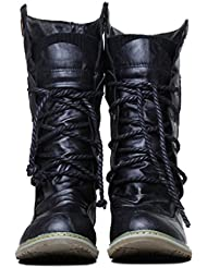 Xianshu Damen Wohnung Mittleres Kalb Schnüren Slouch Boots Anziehen Lässige Stiefel (Schwarz-38 EU)