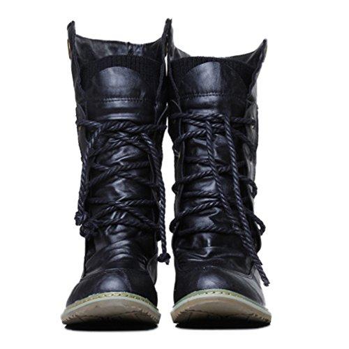 Xianshu Damen Wohnung Mittleres Kalb Schnüren Slouch Boots -