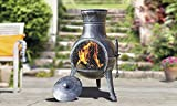 Torreon Steel Chimenea Set with Lid and Accessories – Cast Iron & Steel Fire Pit Wood Burner / Charcoal Burner for Outdoor Garden Fireplace, Patio Heater