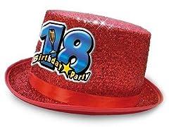 Idea Regalo - Cappello CILINDRO 18 Anni glitter - Buon Compleanno - colori assortiti - invio del colore casuale - idea scherzo regalo gaget per il maggiorenne al suo diciottesimo compleanno