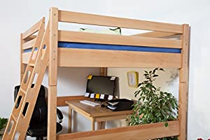Children's bed / Loft Bunk bed Christoph solid, natural beech wood, includes slatted frame - 140 x 200 cm