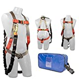 Madaco tetto Costruzione Protezione anticaduta Full Body Harness sicurezza industriale Shock Absorbing interno 6FT cordino Kit Dimensione M-XXL ANSI OSHA Combo A Blue
