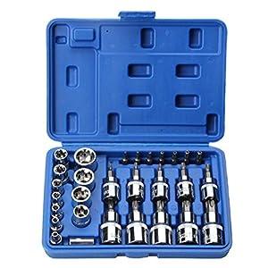 Zink Mixs Werkzeug 30 Stück Chrom-Vanadium-Stahl Sleeve Set Sleeve Bit Mechanische Reparatur Haushaltsgeräte Set Hexagonal Plum Elektrische Werkzeuge Elektrowerkzeuge Makita