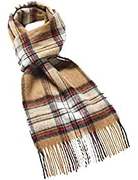 376ffb3af4d2 Bronte Highland Tweeds Camel Stewart Tartan longue Écharpe en laine d agneau