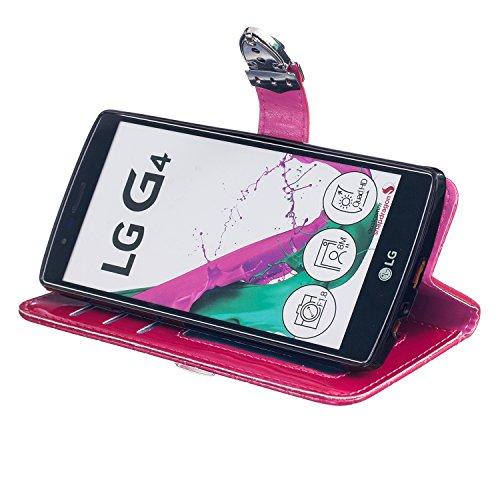 LG G4 Case,mode, Gitterförmige Muster Glatte Oberfläche Design Folio Pu Ledergeldbeutel Fall Decken Mit Stehen / Card Slot Für Lg - G4 ( Color : Blue ) Rose