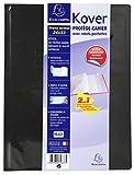 Exacompta 032637W Protège cahier Kover opaque en PVC double épaisseur avec rabats pochettes et étiquette adhésive format 24x32 cm Noir