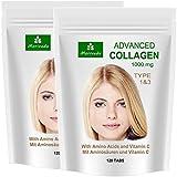 Advanced Kollagen 1000mg + Aminosäuren + Vitamin-C Collagen Tabletten (240 Presslinge für 120 Tage) 2x120