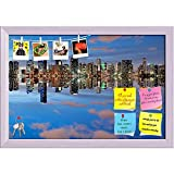 ArtzFolio Miami Skyline Seen From Key Biscayne At Dusk, USA Printed Bulletin Board Notice Pin Board cum White Framed Painting 17.5 x 12inch