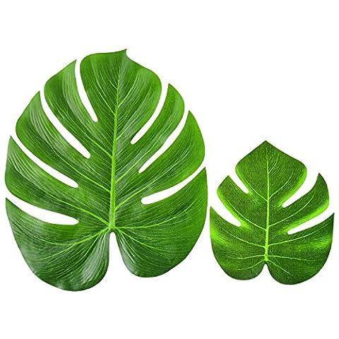 Blulu 12 Pièces Feuilles de Palmier Imitation Feuilles de Plantes Tropicales Feuilles de Tissu pour Hawaiian Luau Partie Décoration à Thème de Plage, 7,9 Pouces et 13,8 Pouces