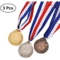 TOYMYTOY 3 Pieces Metal Gold Silver Bronze Award Medals - Olympic Style Winner Medals Gold Silver Bronze for Competition