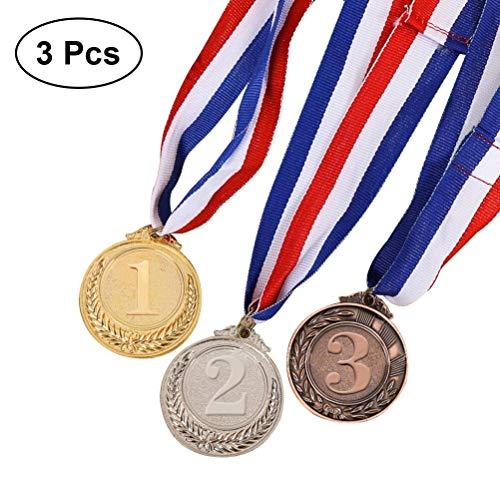 Toyvian Metall Award Medaillen mit Halsband Sieger Medaillen Gold Silber Bronze Olympischen Stil für Sport oder andere Wettbewerb Durchmesser-5,1 cm 3 STÜCKE -
