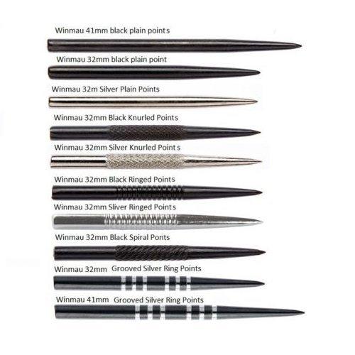 Drei Sets Winmau Ersatz-Dartspitzen, verschiedene Typen und Längen erhältlich