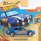 Hot Wheels' Ford Escort RS1600 - Historisches Fahrzeug 1970 - 1:64 - Farbe: Basic Blue (HW-Serie 2/10 HW 50 Race Team 2018)