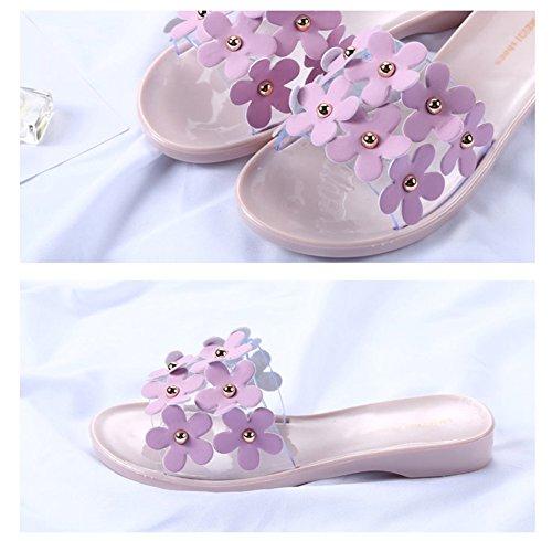 Auspicious beginning Pantofole piane floreali Nonslip Beach per le signore Rosa