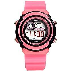 Sport LED Luminous Alarm Digital Watch Waterproof Pvc Strap Quartz Children Wrist Watch,Pink