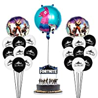 Fortnite Party Supplies Set Happy Birthday Cake Banners Topper Favors Foil Latex Balloons Video Game Theme Decorations Supply Kit for Adults, Teens Boys, Girls and Kids