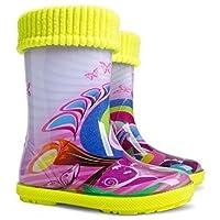 KIDS RAIN WELLINGTON Rainy Snow Boots Shoes Socks Children Wellies_Purple Butterfly
