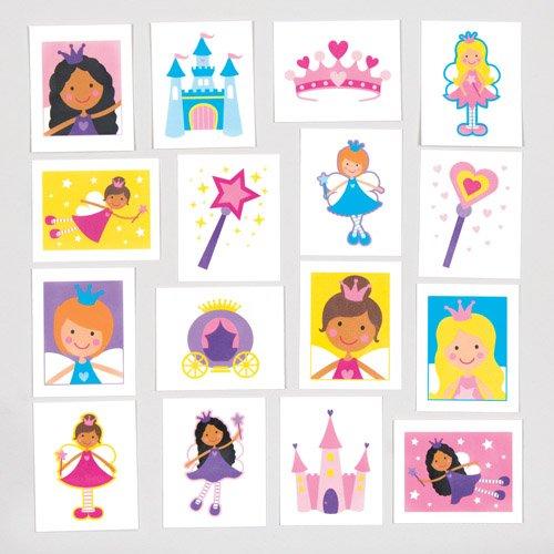 Baker ross tatuaggi temporanei principesse fate per bambini - fantastici giocattoli da inserire in buste regalo alle feste o come regalini premio per bambini (confezione da 24).