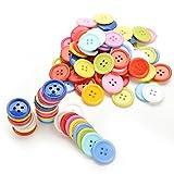 Romote 100pcs Botones de Colores Madera DIY Wooden Redonda Botones de Camisa de Costura de Wooden Arte