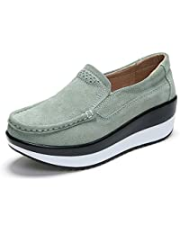 lovejin Mujer Mocasines Casual Loafers Plataforma de Pérdida de Peso Zapatos de Fitness Conveniente para Todas