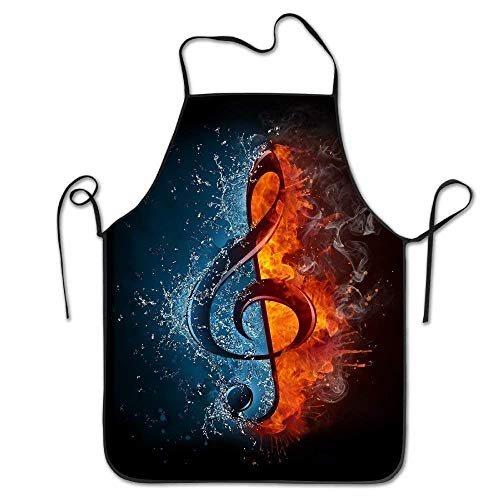 HTETRERW Music Note Illustration Apron for Baking Crafting Gardening Cooking Durable Easy Cleaning Creative Bib for Man and Woman Standar Size (Kostüm Hund R2d2)