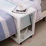 Zfggd U-förmiger Sofa-Beistelltisch, Birken-hölzerner Couch-Tisch, Dia-unter Endsnack-Tabelle (Farbe : Weiß)