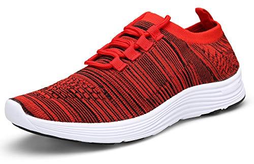 KOUDYEN Unisex Scarpe da Ginnastica Uomo Donna Corsa Sportive Fitness Running Sneakers Basse Casual (EU39, B Rosso)