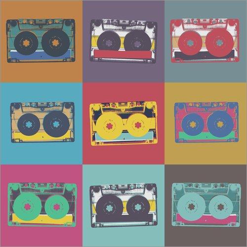 Posterlounge Impresión en Madera 120 x 120 cm: Colorful Cassettes de Editors Choice