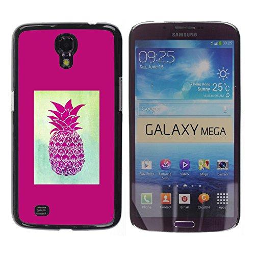YOYOYO Schwarz Hart Verteidiger Handy Schutz Hülle Bild Etui Case Schale Cover für Samsung Galaxy Mega 6.3 I9200 SGH-i527 - Ananas 420 Unkraut Rauch lila